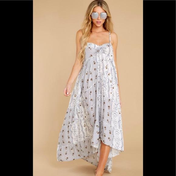 White Multi Print Maxi Dress